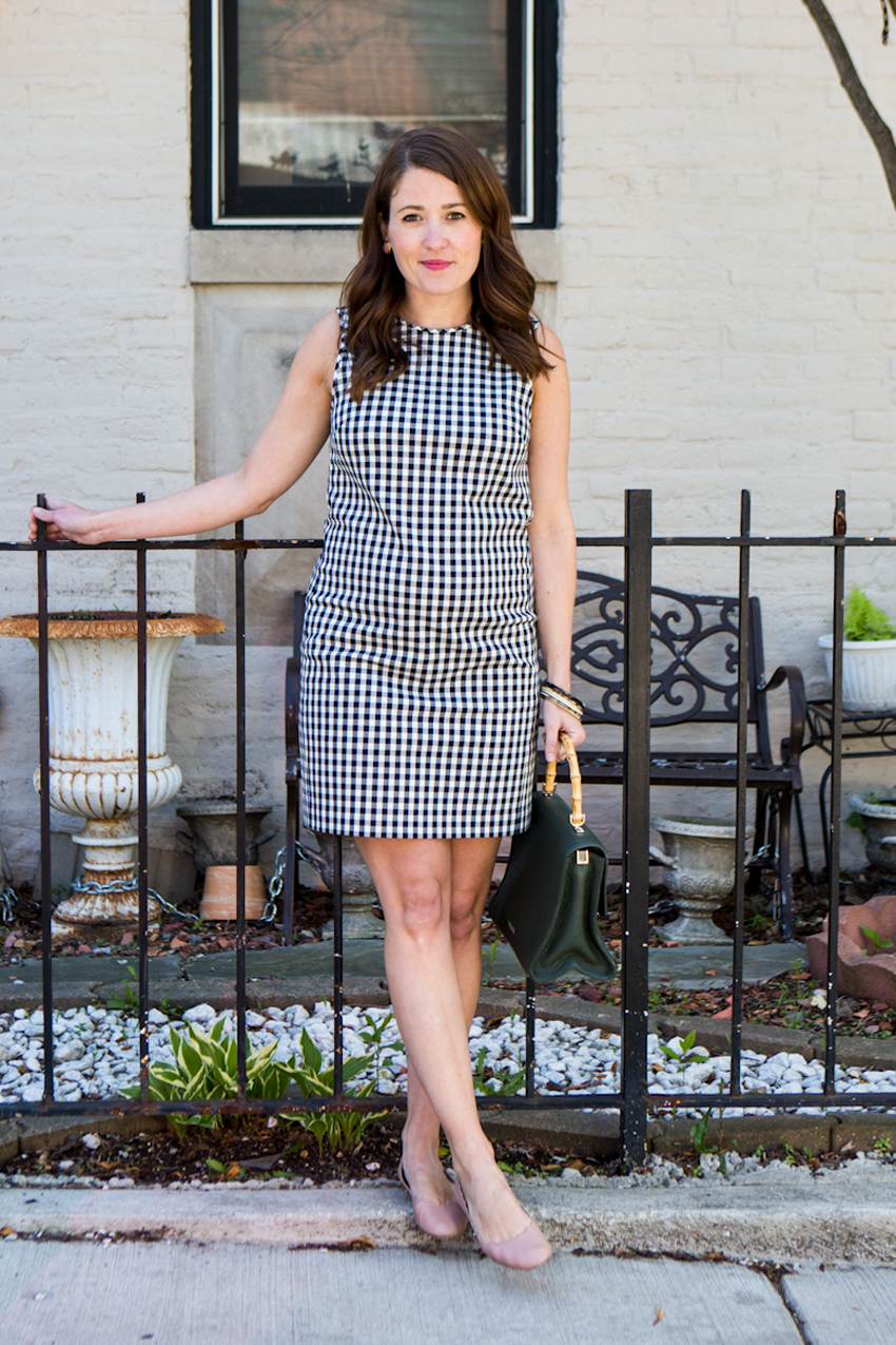 theory-gingham-shift-dress-and-chloe-flats