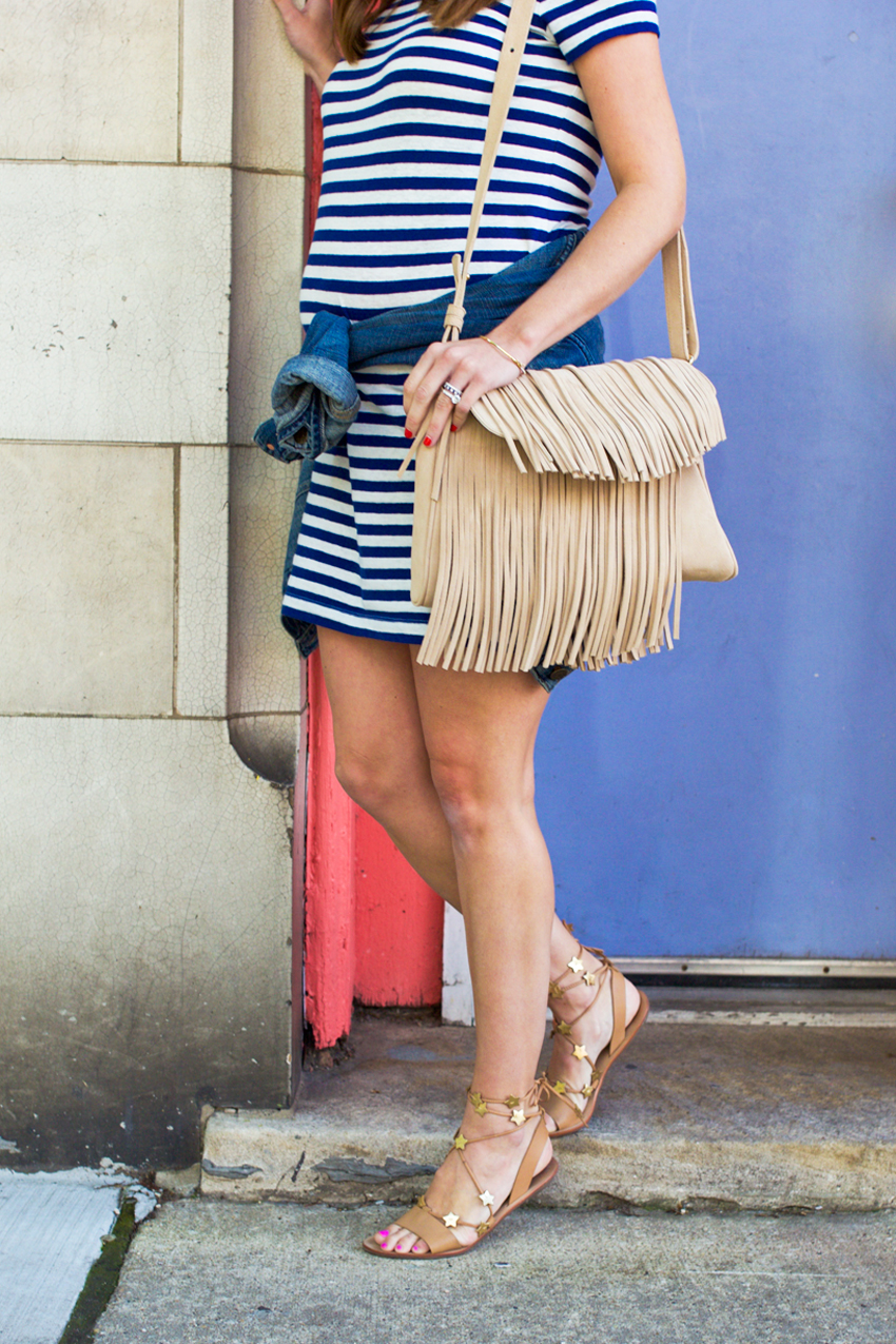weekend-style-in-Loft-stripe-dress-and-fringe-bag