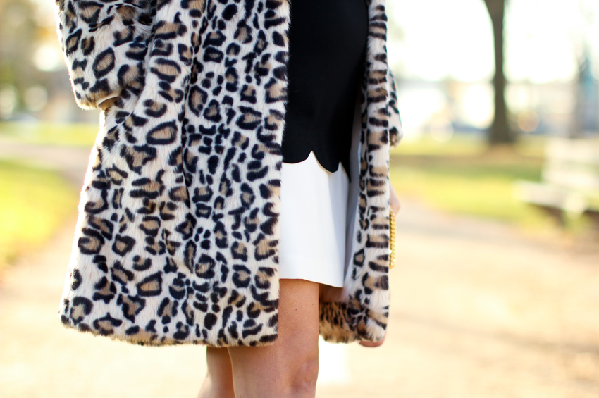 holiday look wearing black, white and leopard