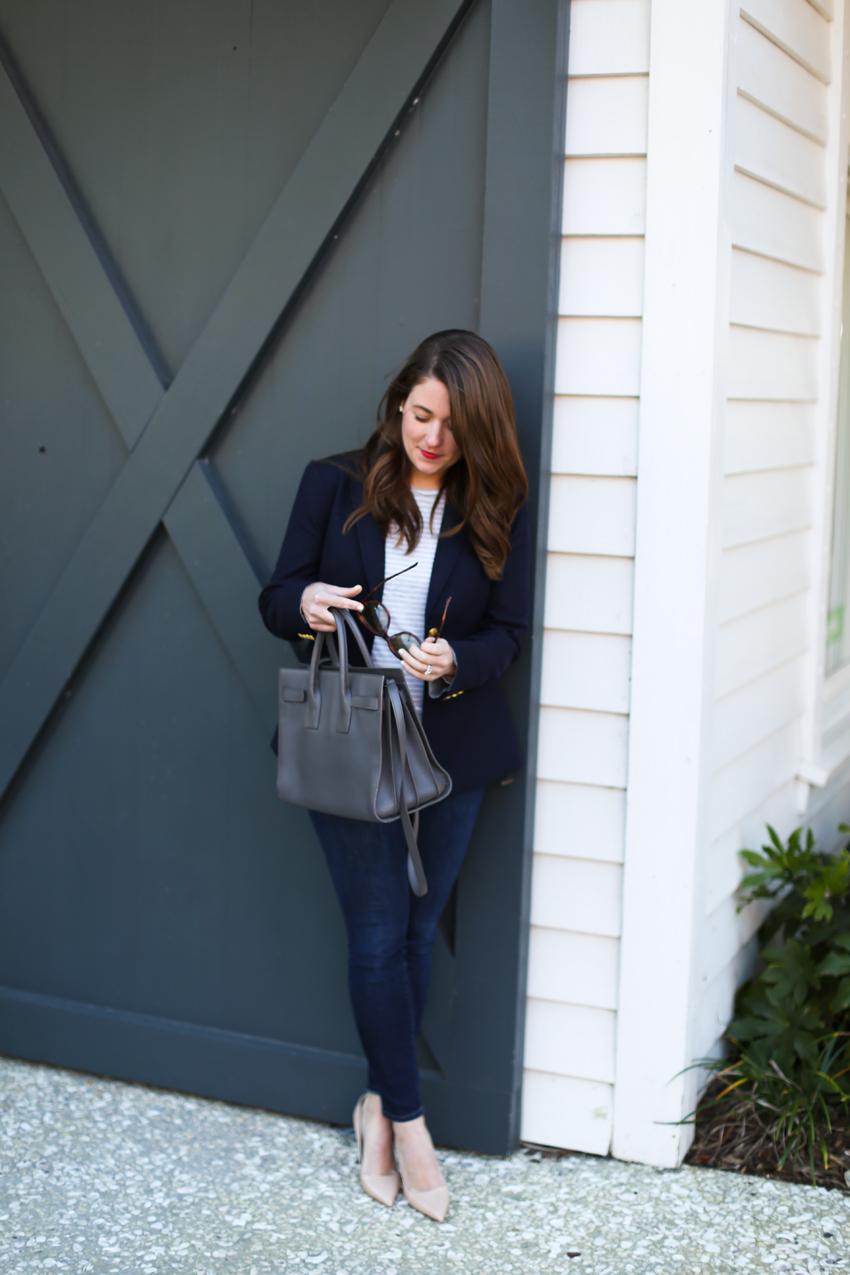 ysl bag and navy blue blazer