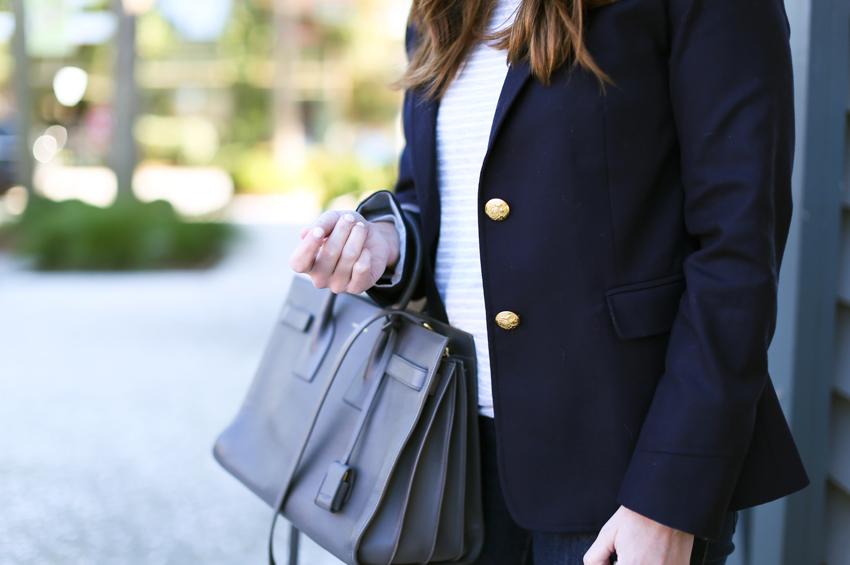 navy blue blazer and ysl tote