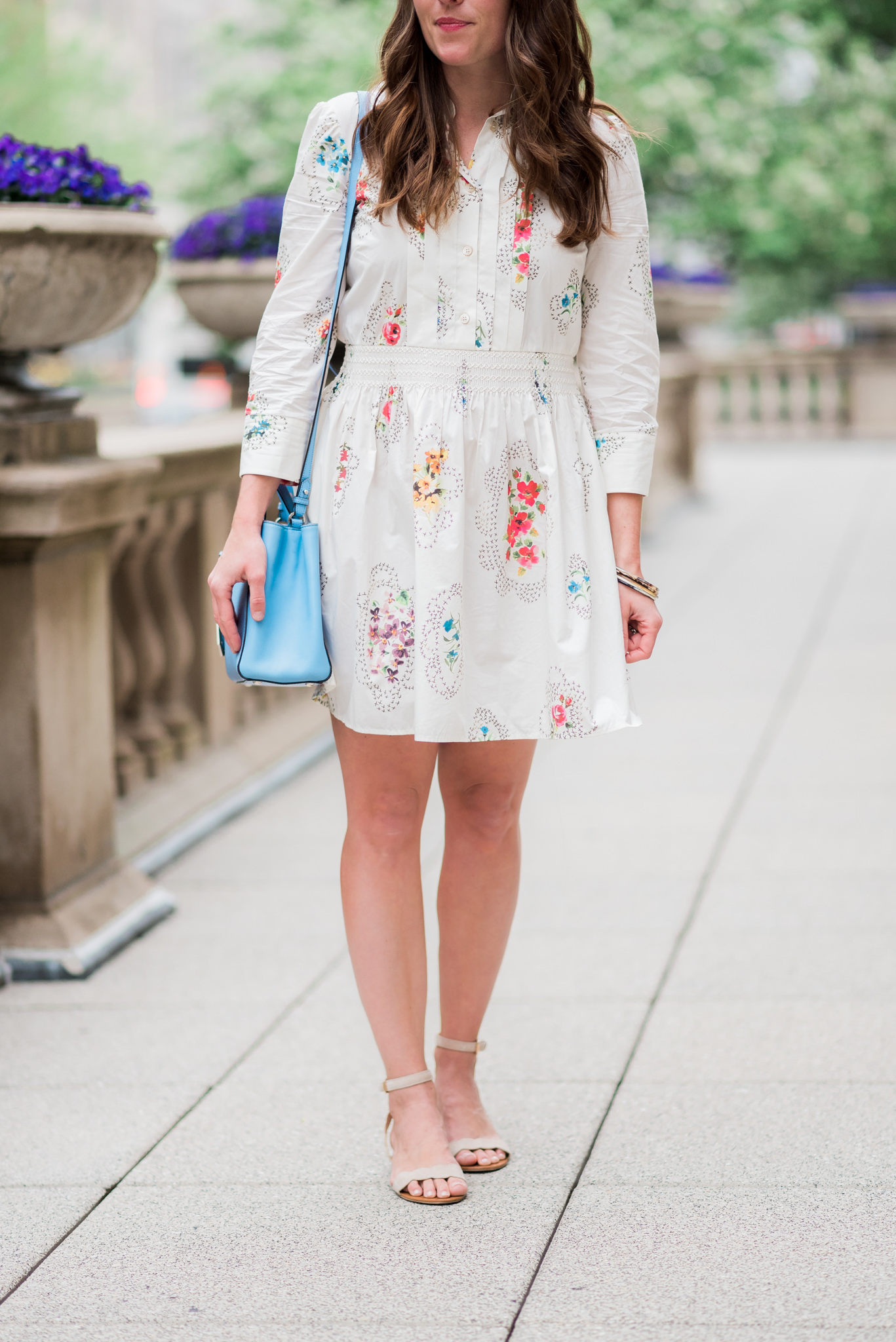 Red Valentino dress on Michigan Avenue