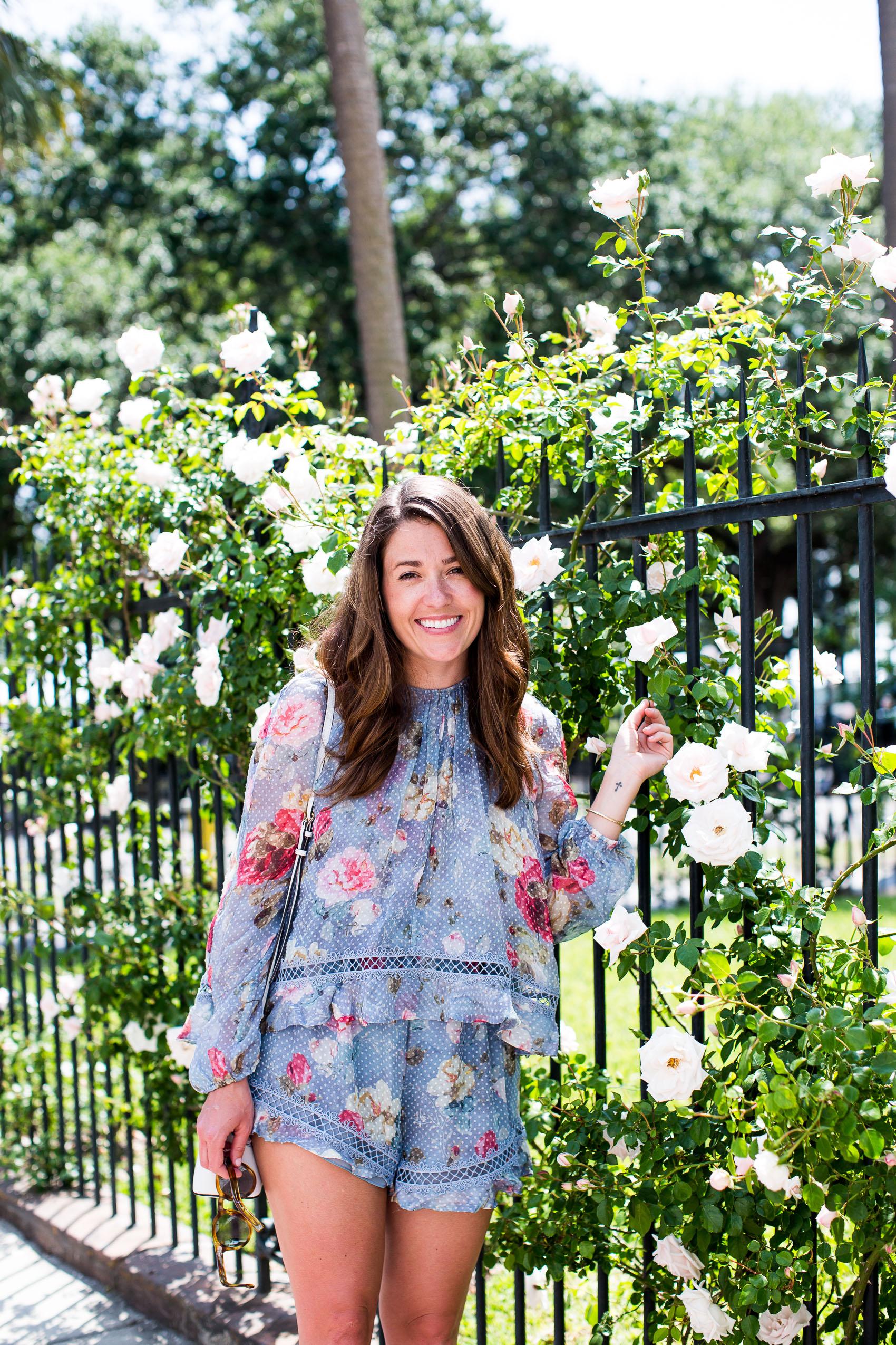 floral zimmermann romper in Charleston on sequinsandstripes.com