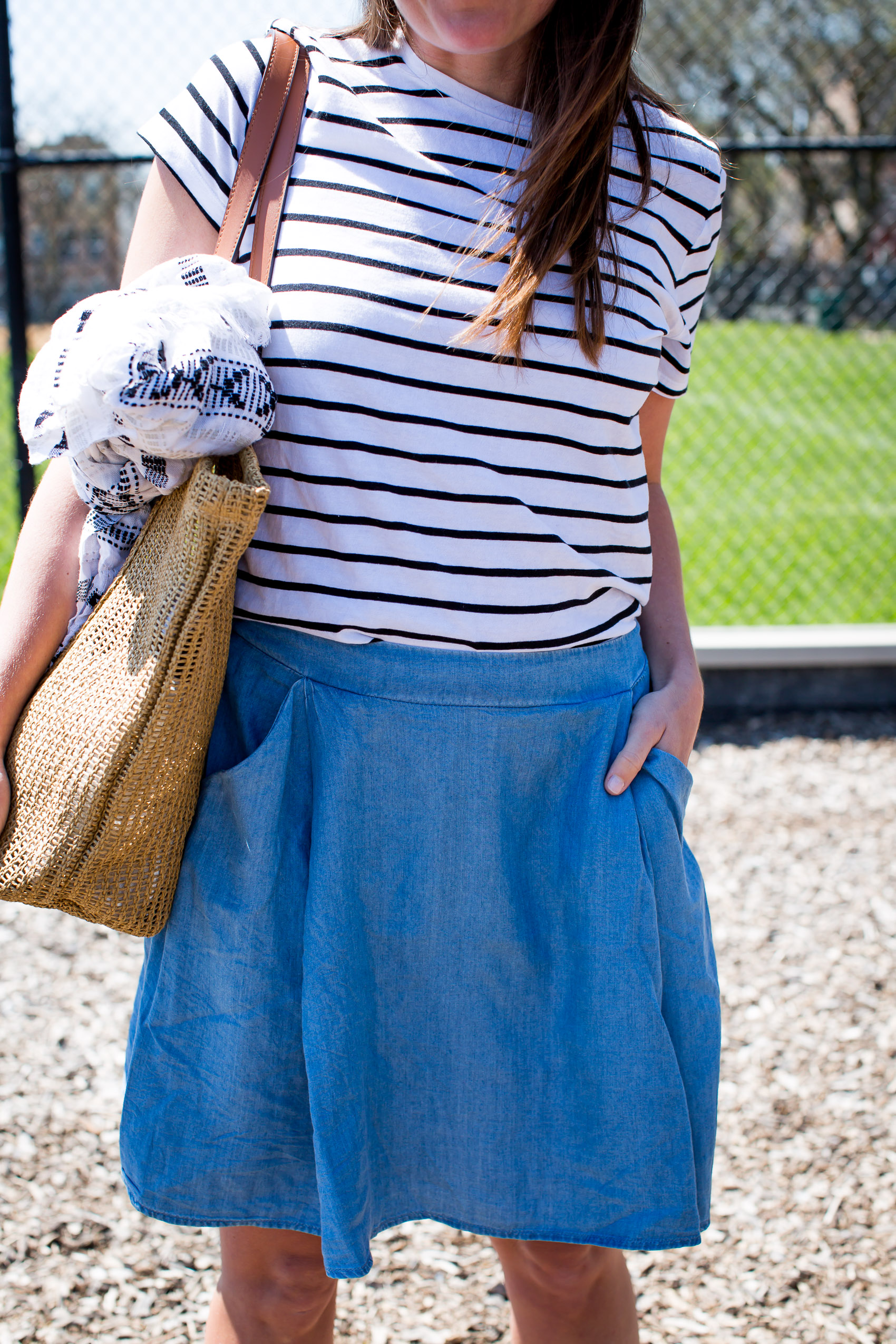 striped tee and denim skirt from old navy