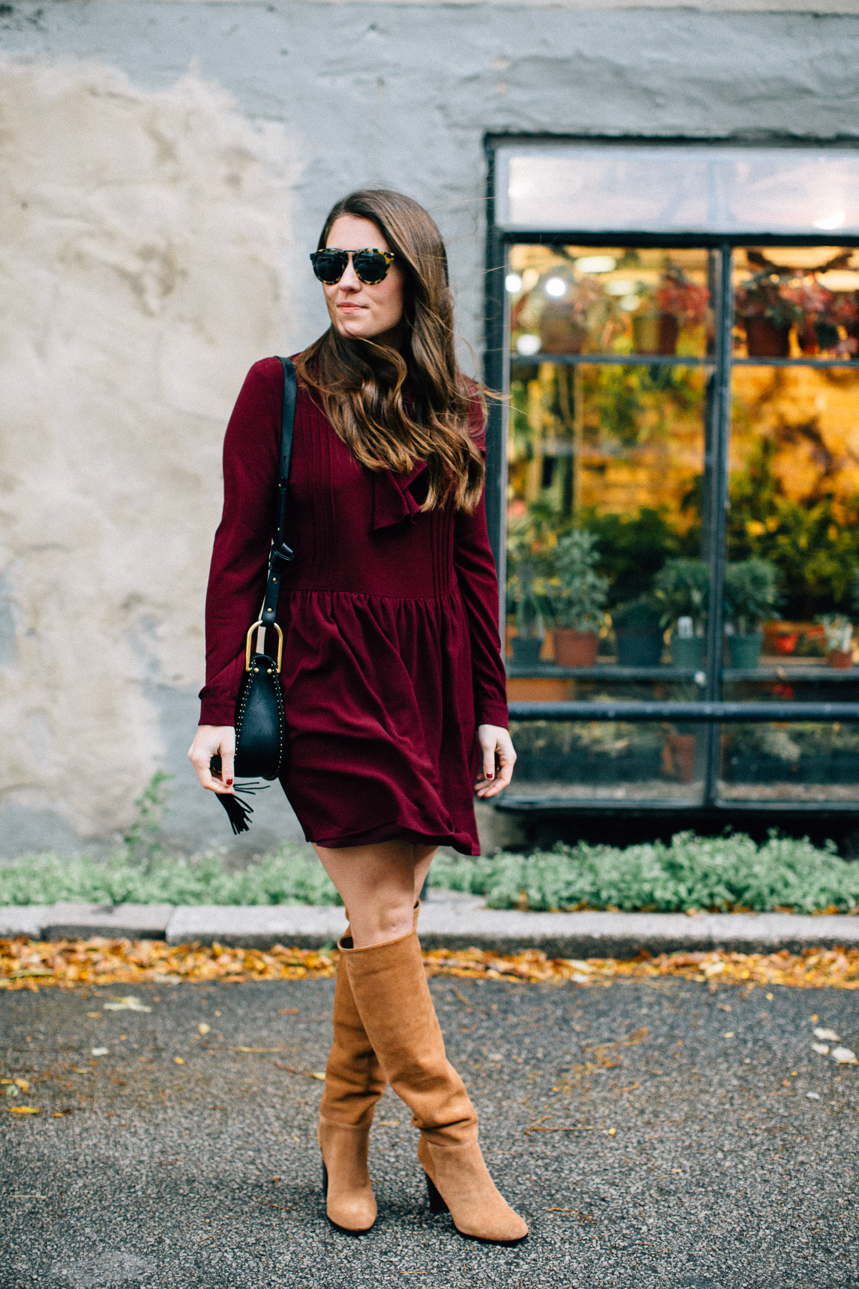 wayf burgundy ruffle dress and sam edelman boots