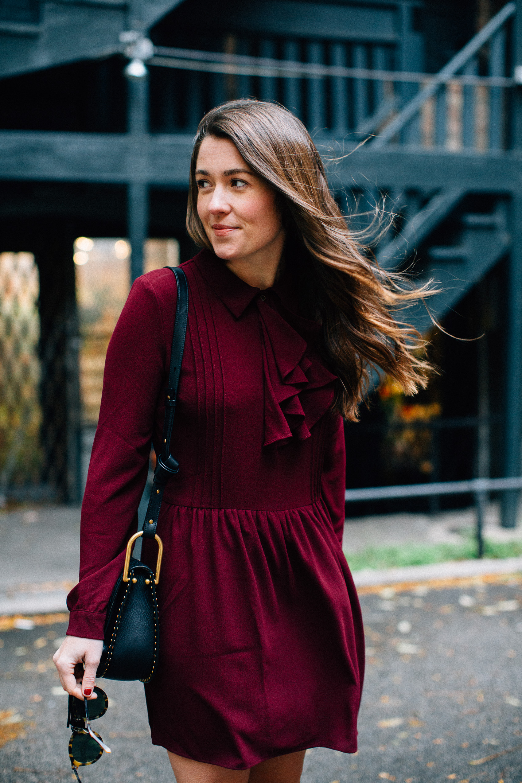 ruffle yoke pleated burgundy dress
