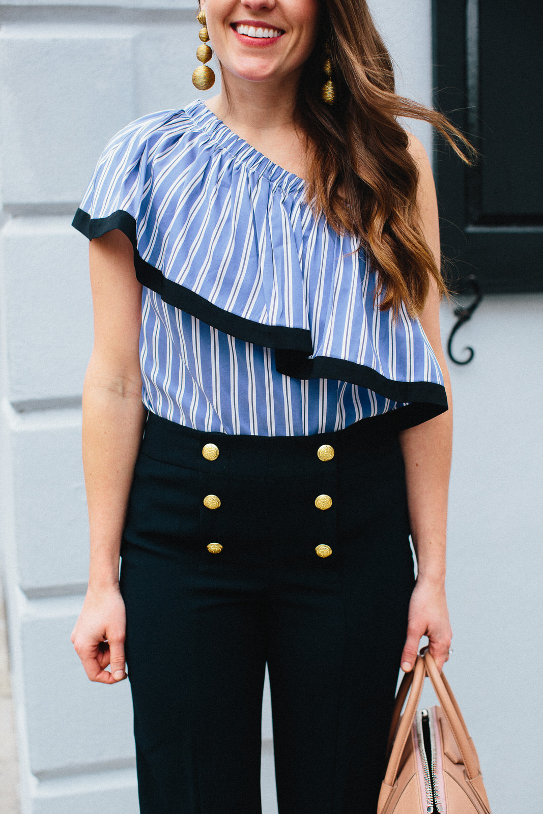 Liz Adams styles a nautical look in Charleston, wearing Milly Top and Sezane Pants - Sequins & Stripes