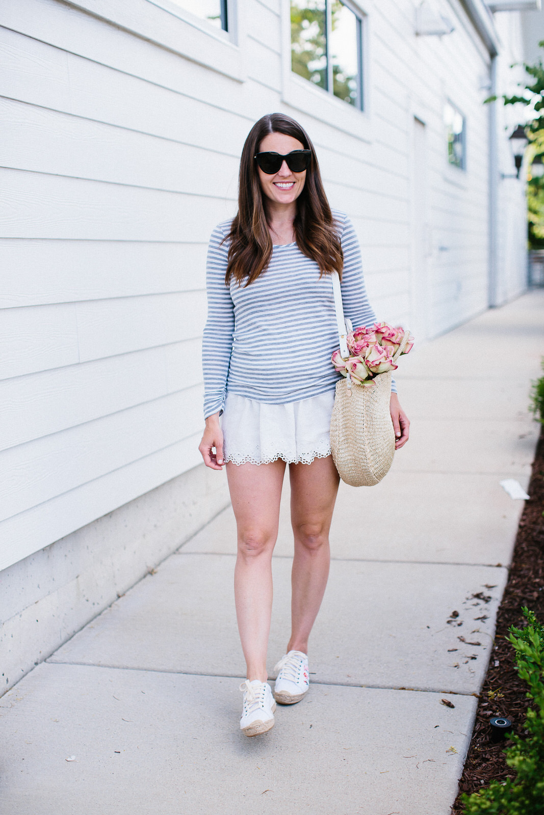 Liz Adams of Sequins & Stripes wears easy basics for growing pregnant bellies.