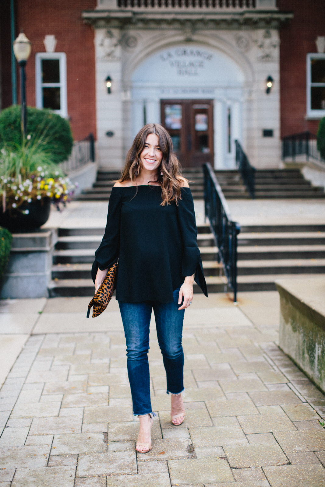 Liz Adams of Sequins & Stripes fall date night outfit ideas.