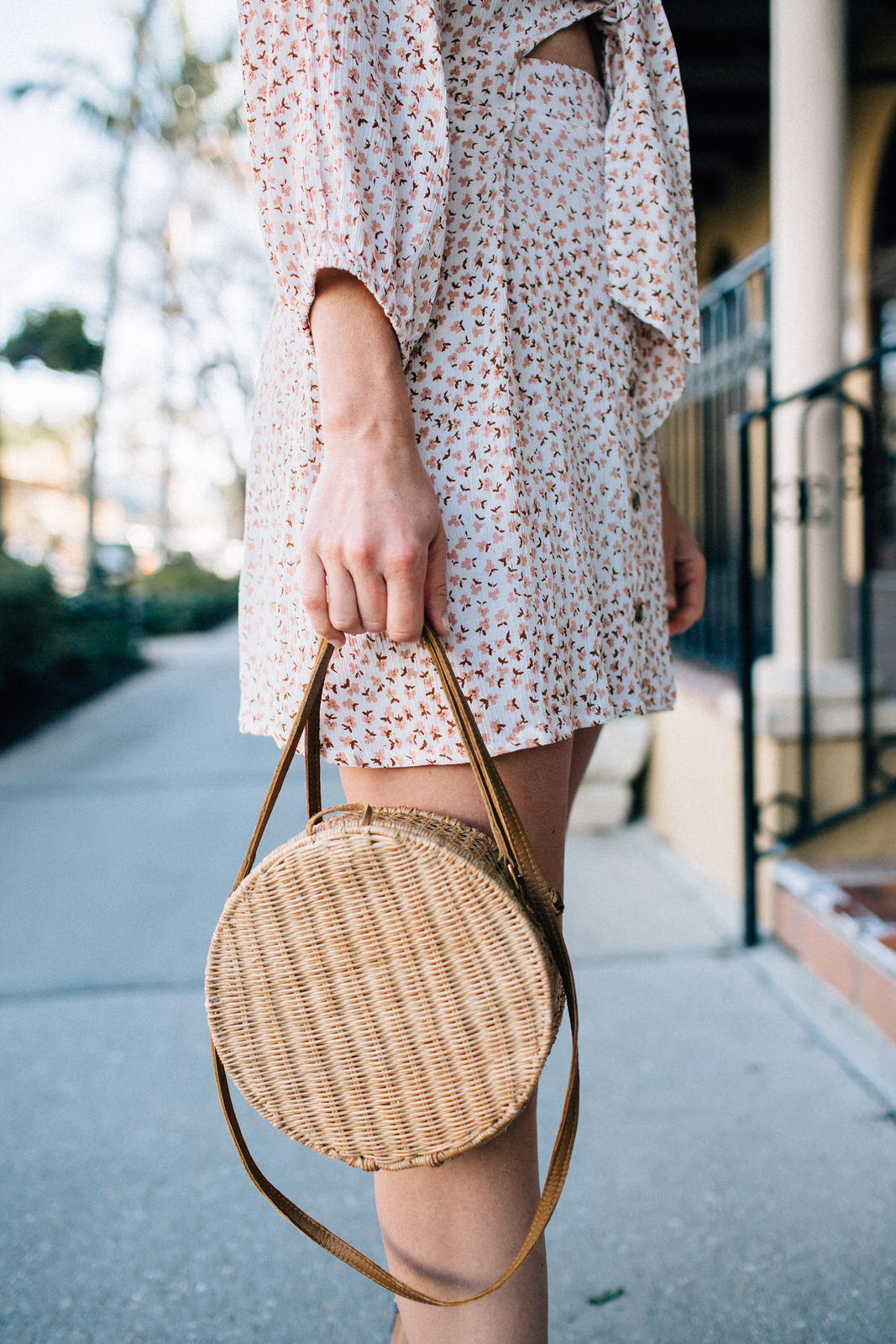 faithfull the brand trinidad mini dress and serpui marie wicker handbag vacation date night outfit