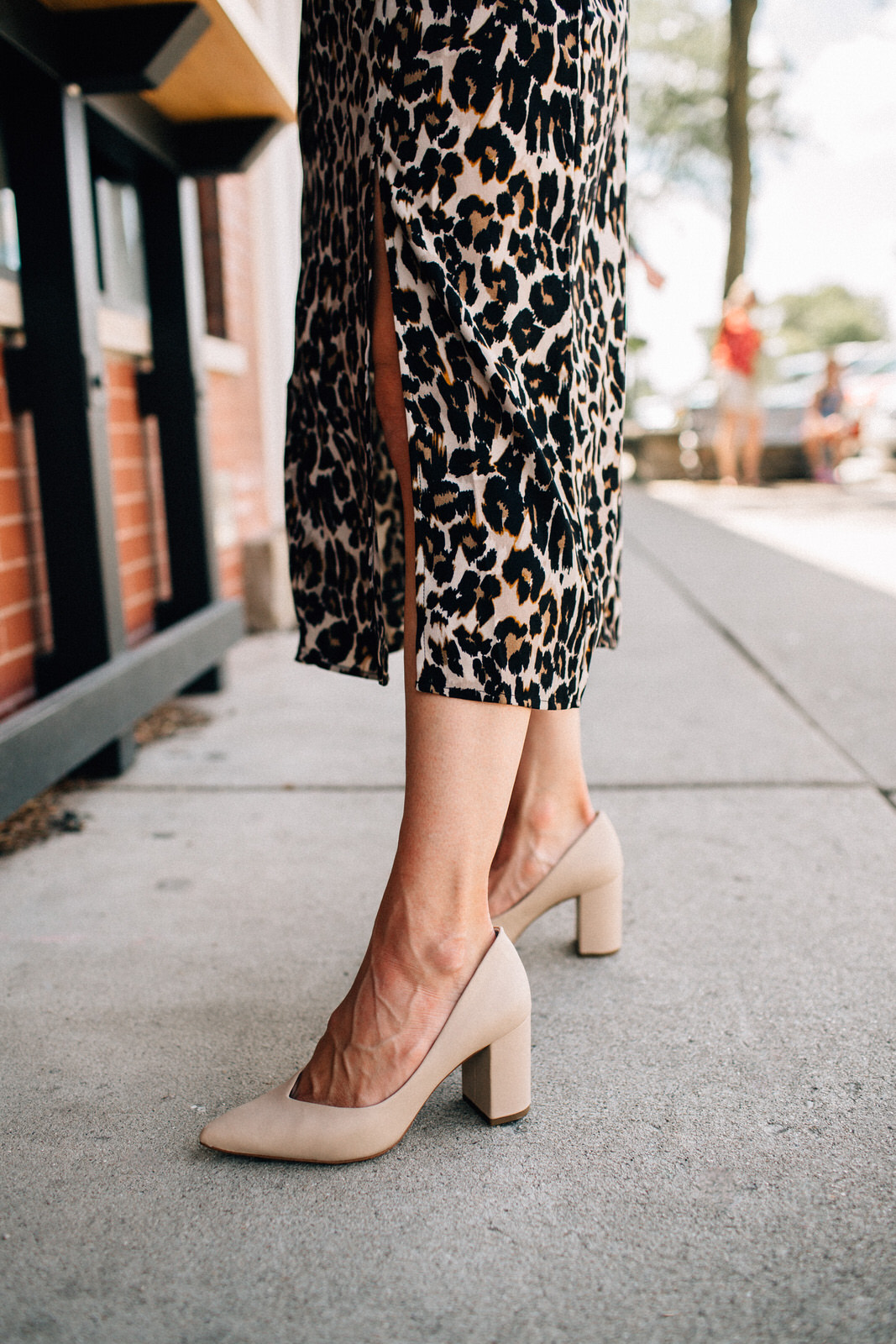 nordstrom anniversary sale outfit BP leopard silk dress with nude pumps