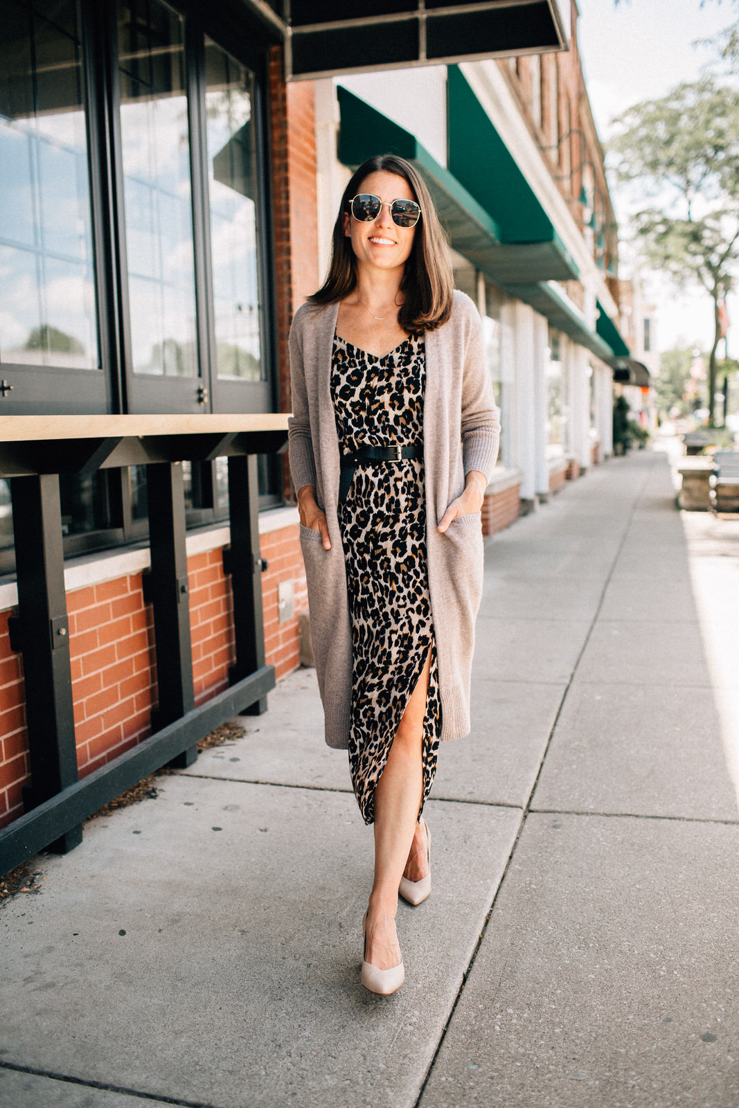nordstrom anniversary sale outfit BP leopard silk dress long cardigan