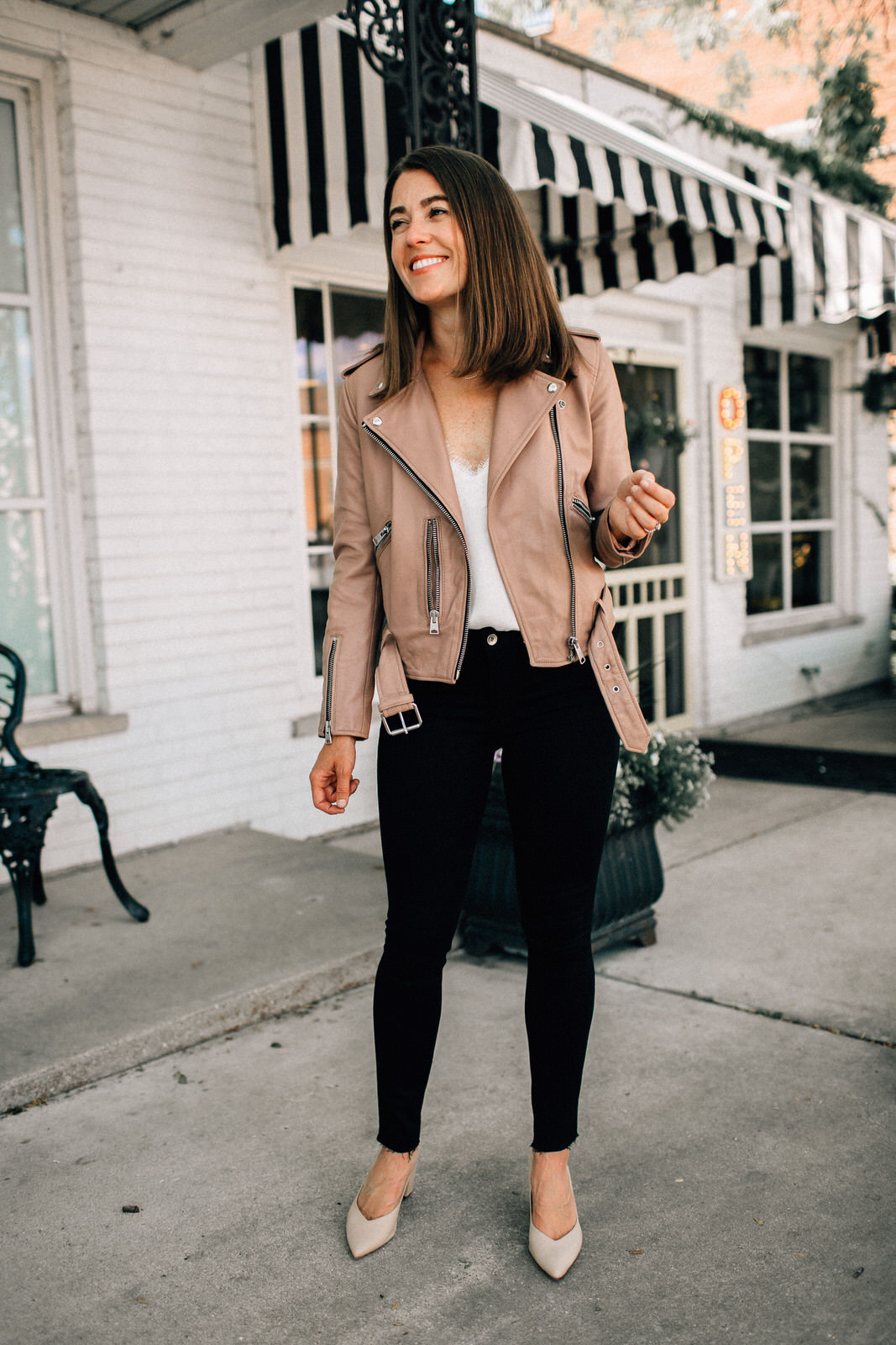 nordstrom anniversary sale outfit allsaints leather jacket white lace cami rag & bone jeans