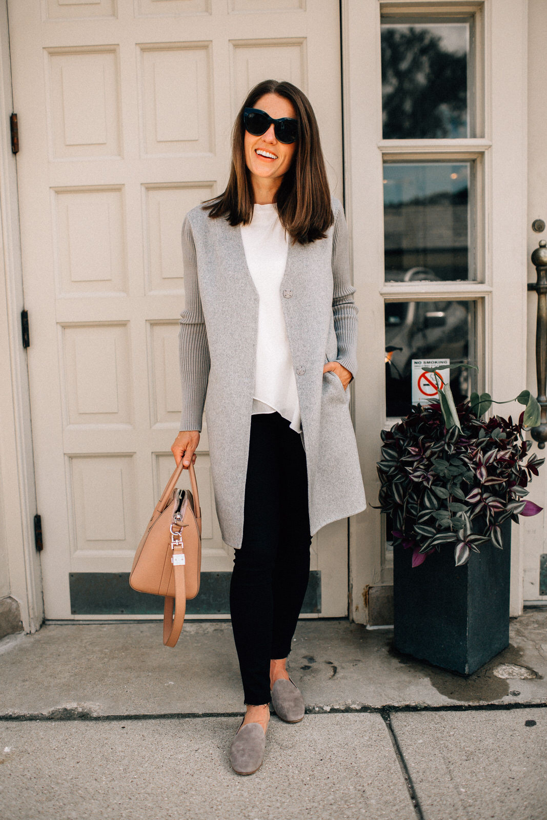 nordstrom anniversary sale outfit grey kenneth cole coat rag & bone jeans givenchy handbag