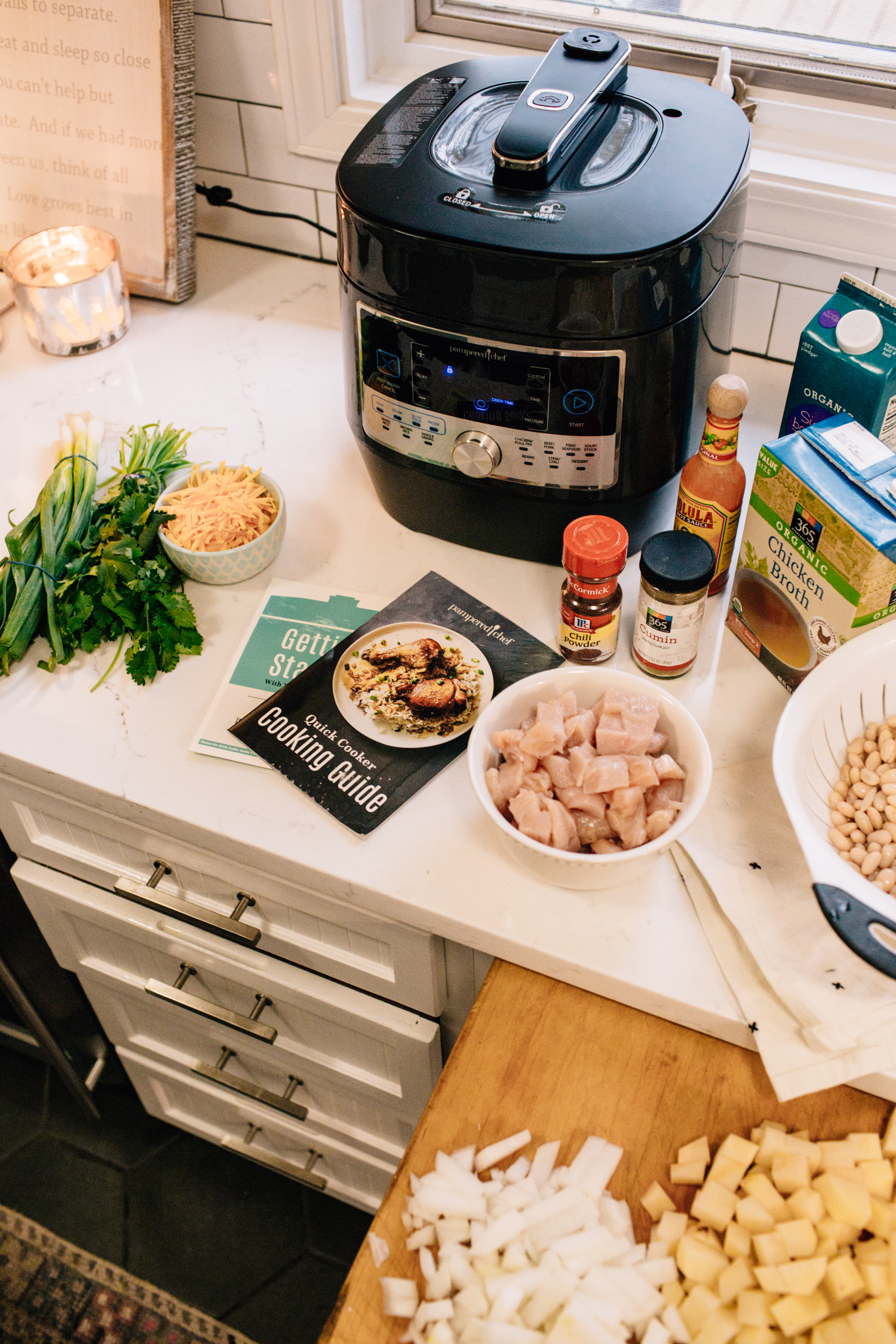 White Chicken Chili Recipe With My Pampered Chef Quick Cooker Hello Adams Family