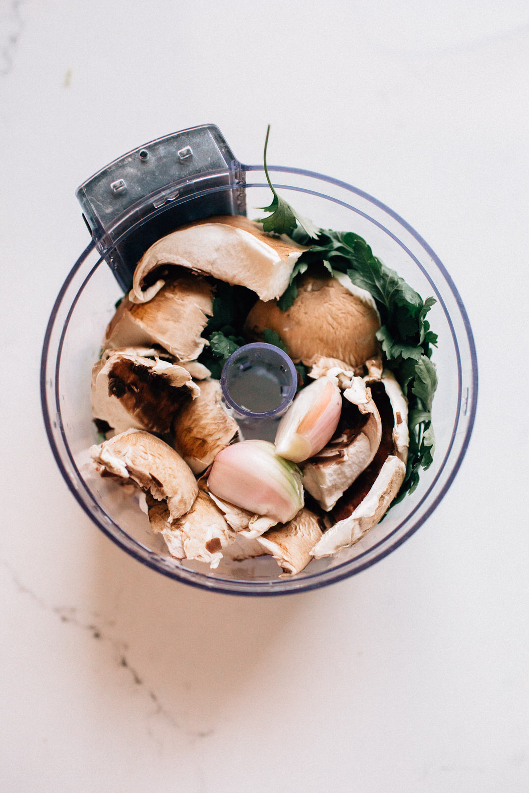 healthy turkey burger ingredients mushroom shallot parsley in food processor