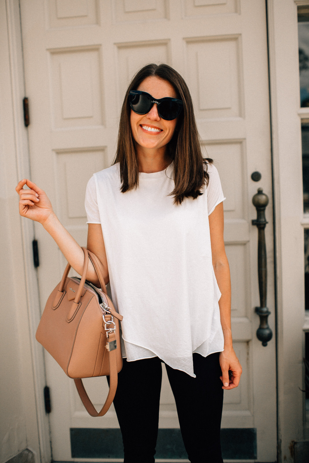 nordstrom anniversary sale outfit allsaints white asymmetrical hem tee with tan givenchy handbag le specs sunglasses